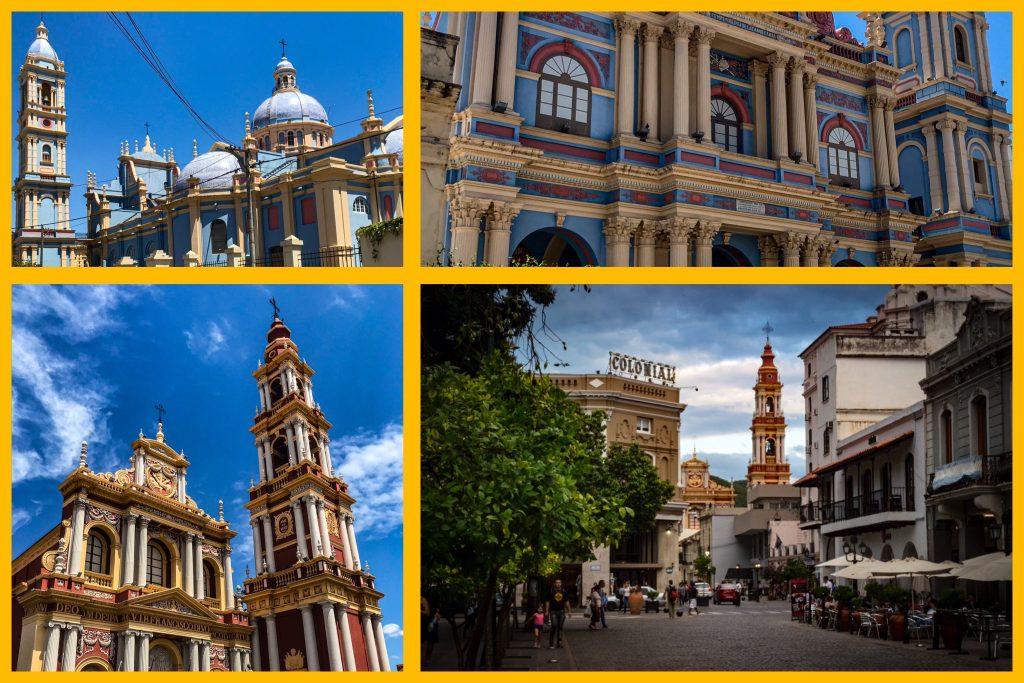 le chiese e una vista dalla piazza principale di salta