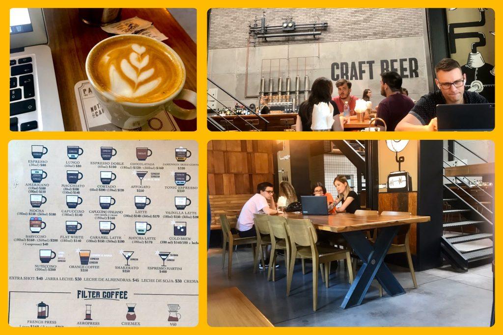 menù e caffè latte di Padre Coffee roasters